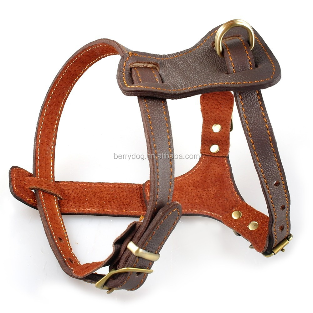 Large Size S M L Brown Genuine Leather Dog Walking Chest Harness