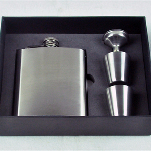 7oz Stainless Steel Liquor wine Flask Gift Set with Hinged Screw-On Cap