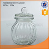 Big glass pumpkin shaped bottles halloween containers storage jars with lids for food usage..