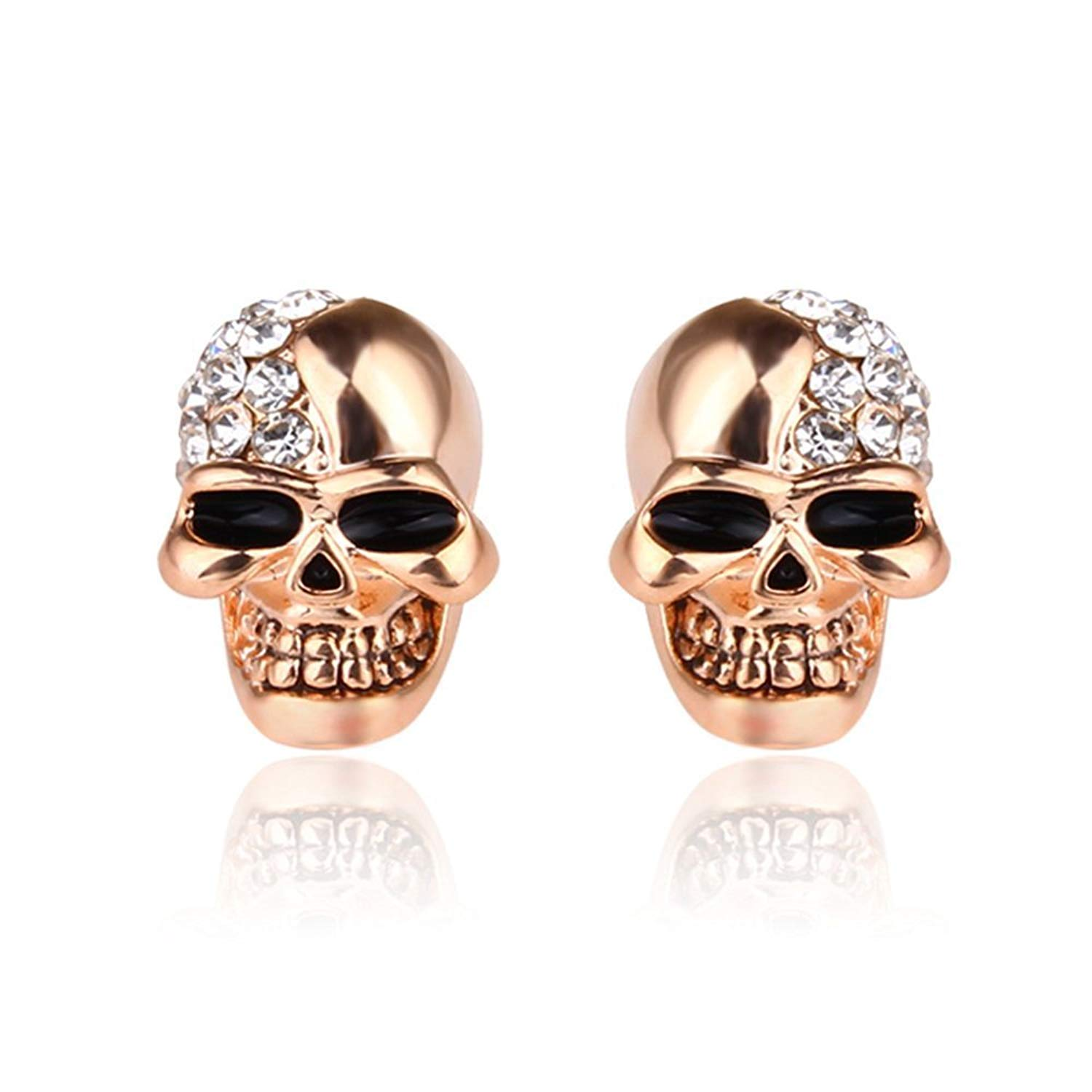 914326b03 Get Quotations · Pair of Unisex Classic Skull Ear Stud Earrings, Punk Rock  Style Skull Earrings Ear Stud