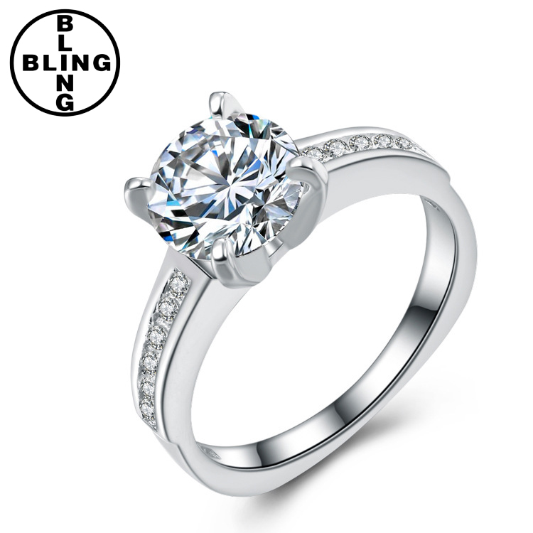 >>>Fashion Jewelry Polished S925 Sterling Silver Ring with Embedded White Gold Electroplated Gift/