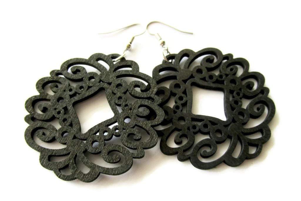 Large Lightweight Black Wooden Laser Cut Circle Filigree Modern Boho Earrings for Women
