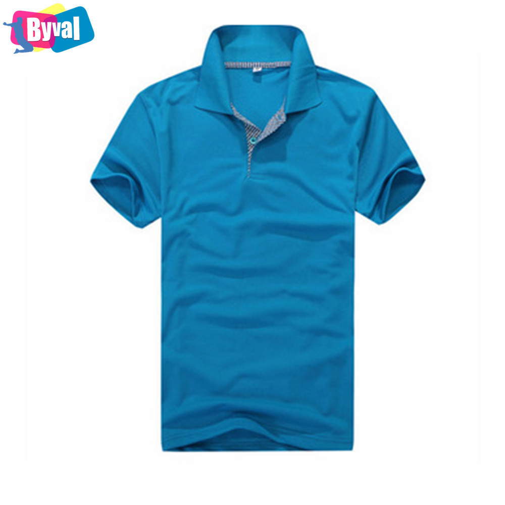 Blue Polo Shirt Custom Embroidered Logo 100cotton Breathable Polo T