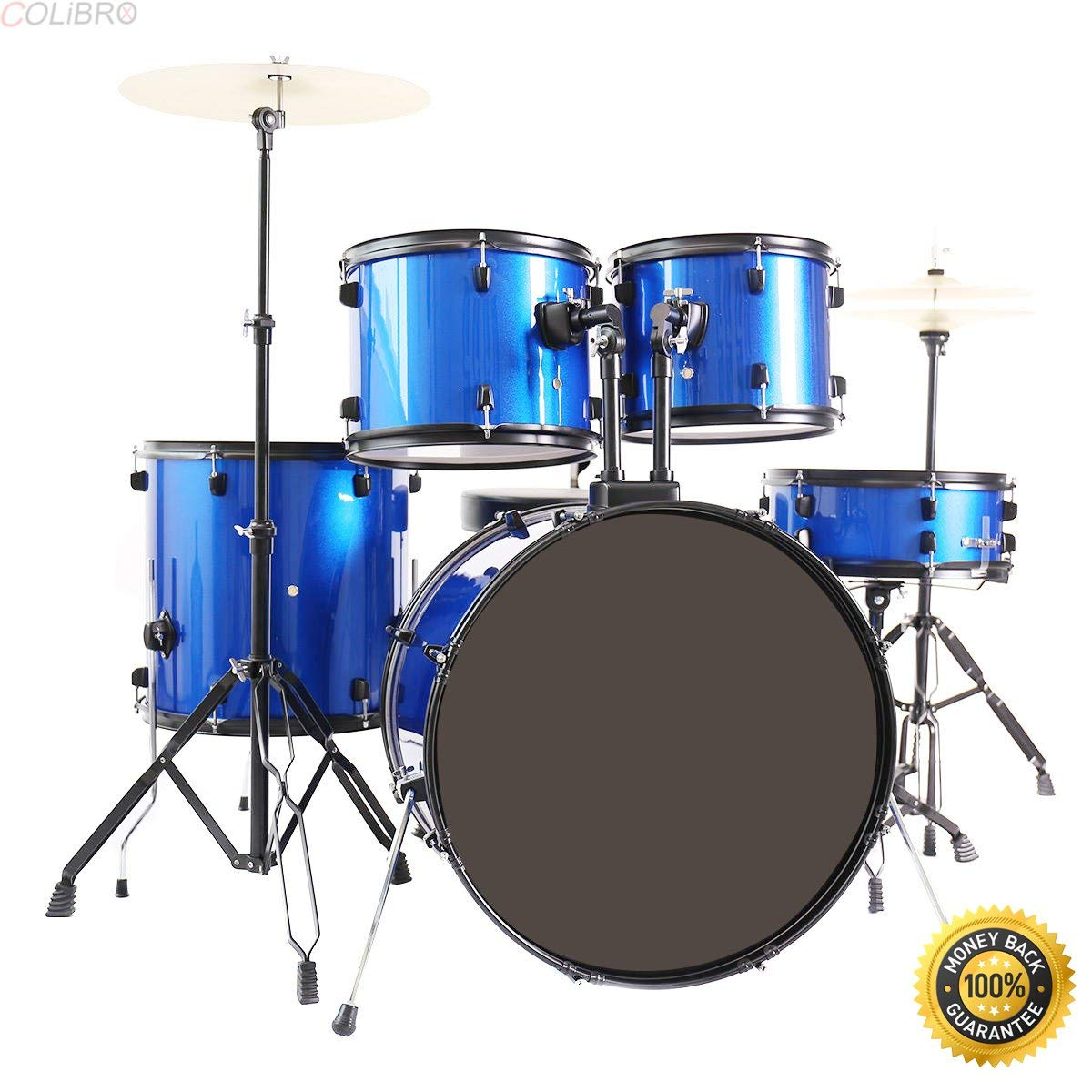 COLIBROX--New 5-Piece Full Size Complete Adult Drum Set +Cymbal+Throne Blue,musicians institute,drum set,Full Size 5-Piece Senior Drum Set ,Full Size Complete Adult Drum Set