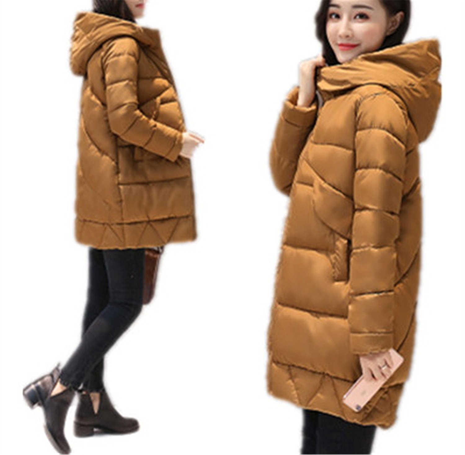 Josherly Winter Parkas Warm Thicken Middle-Long Hooded Jacket Coat Cotton Padded Parkas Coat M-XXL