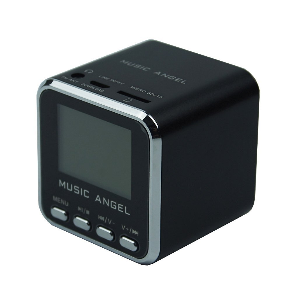 Original Music Angel Portable Mini Digital Speaker LCD Screen with FM Radio/Micro SD/TF Card /USB Disk/ Alarm Clock Multi-Language Function (Black)