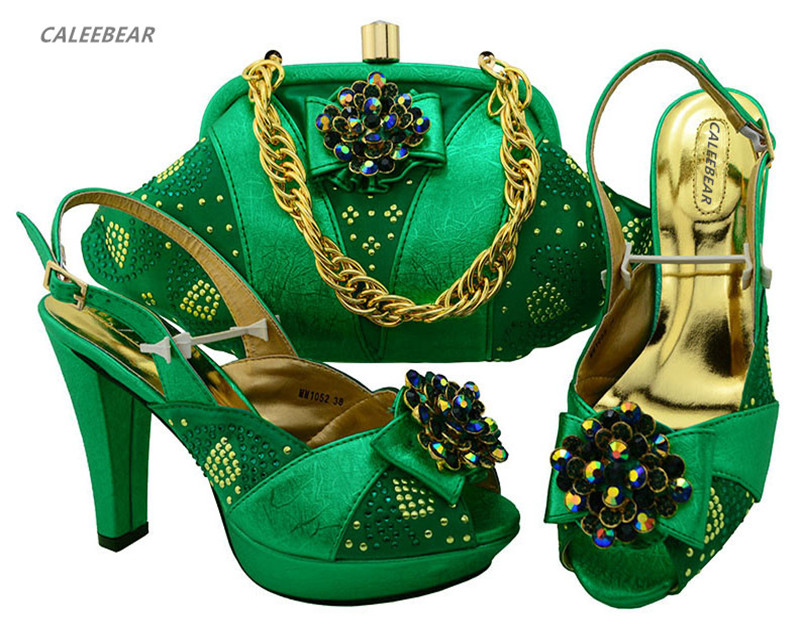 Italian bags with Green bag shoes For Wedding shoes matching set shoes women evening ladies and fv4SpvFq