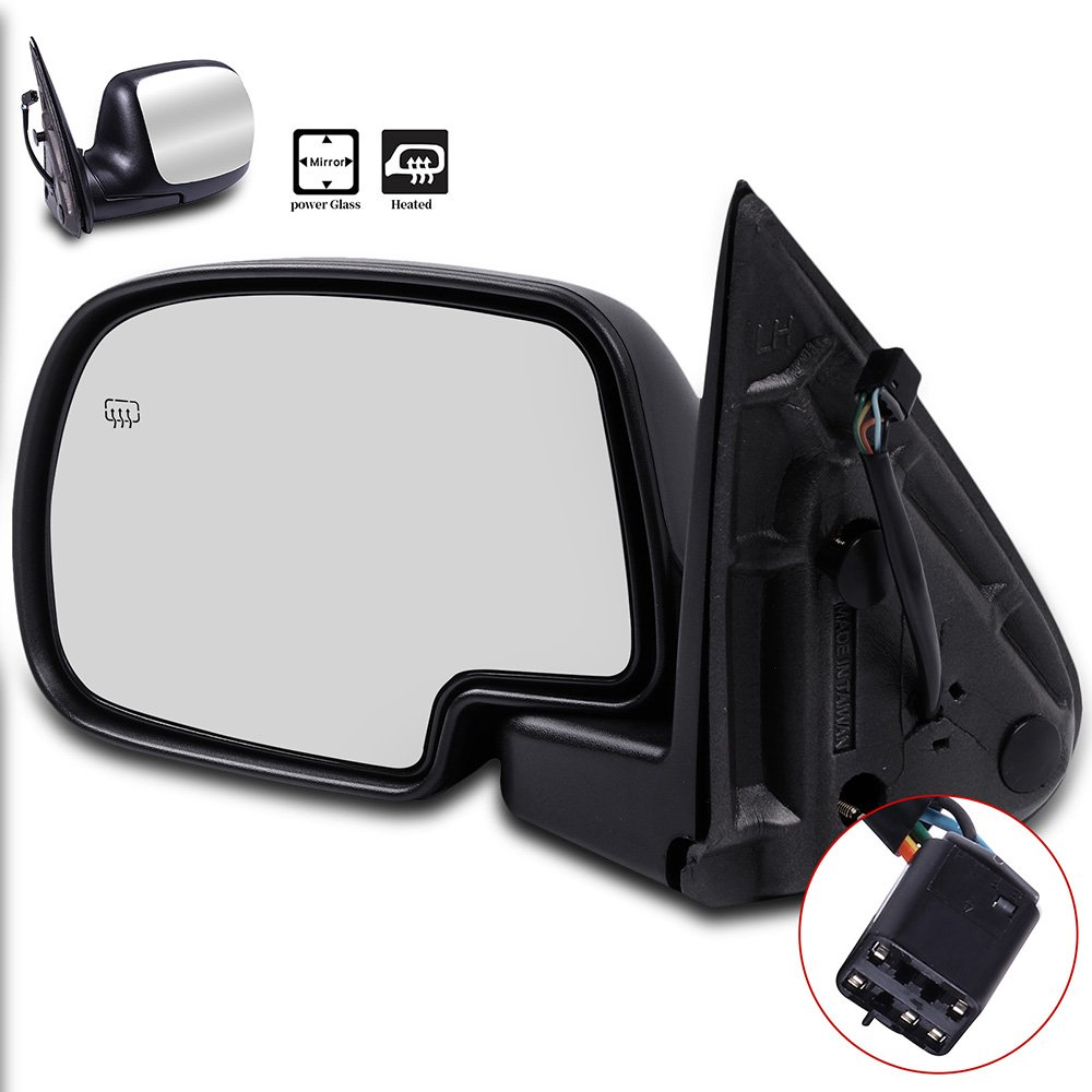 Door Mirrors ECCPP High Performance Driver Side Mirror Replacement Left Side Mirror with Power Adjusted Heated Manual Folding for 1999-2002 Chevrolet Silverado Tahoe GMC Sierra Yukon XL Chrome