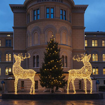 Commercial Outdoor Christmas Decorations.Lift Size 3d Large Led Commercial Christmas Decoration Outdoor Reindeer Light For Park Hotel Business Center Square Decor Buy 3d Christmas Reindeer