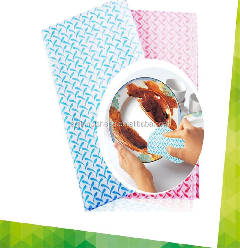 Semi full cross wave disposable polyester non woven household cleaning cloths dry wipes