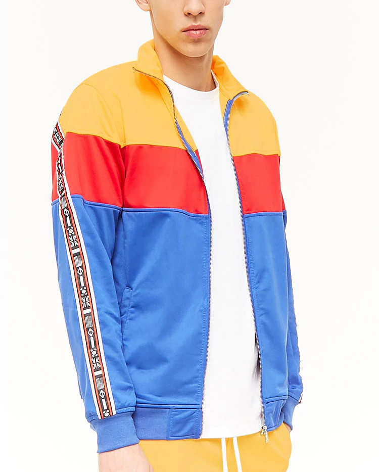 Retro Sports Mens Polyester Colorblock Tracksuit Set