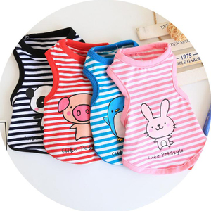 Cotton Animal Striped Vest Pet Dog Clothing
