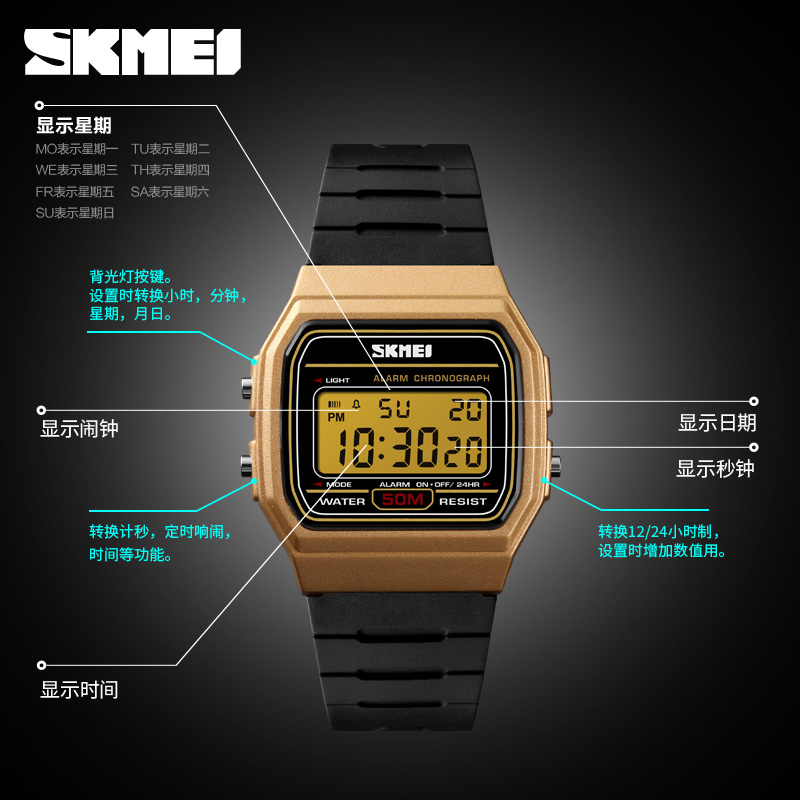 2018New Skmei 1412 Watch Jam Tangan Relojes untuk Hombre Promosi Jam Tangan Custom Watch