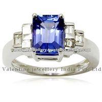 emerald cut tanzanite with princess cut diamond solid 18k white gold engagement ring