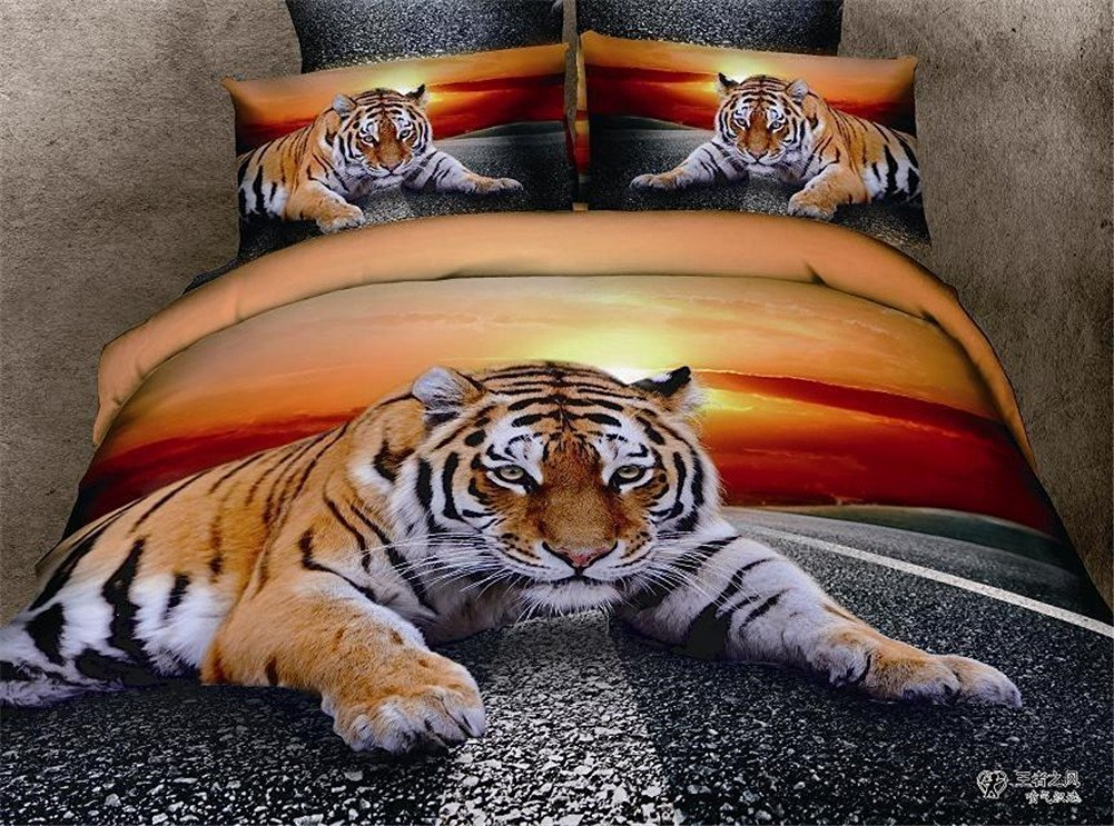 Buygeek 3d Oil Painting Bedding Sets Queen Size 4 Pcs Animal Print 3d Bedding Set Oil Painting Duvet Cover Luxury Bedding Set Cotton Twill-3d Bedding 100% Cotton Quilt Duvet Cover Bed Sheet-tiger on Road
