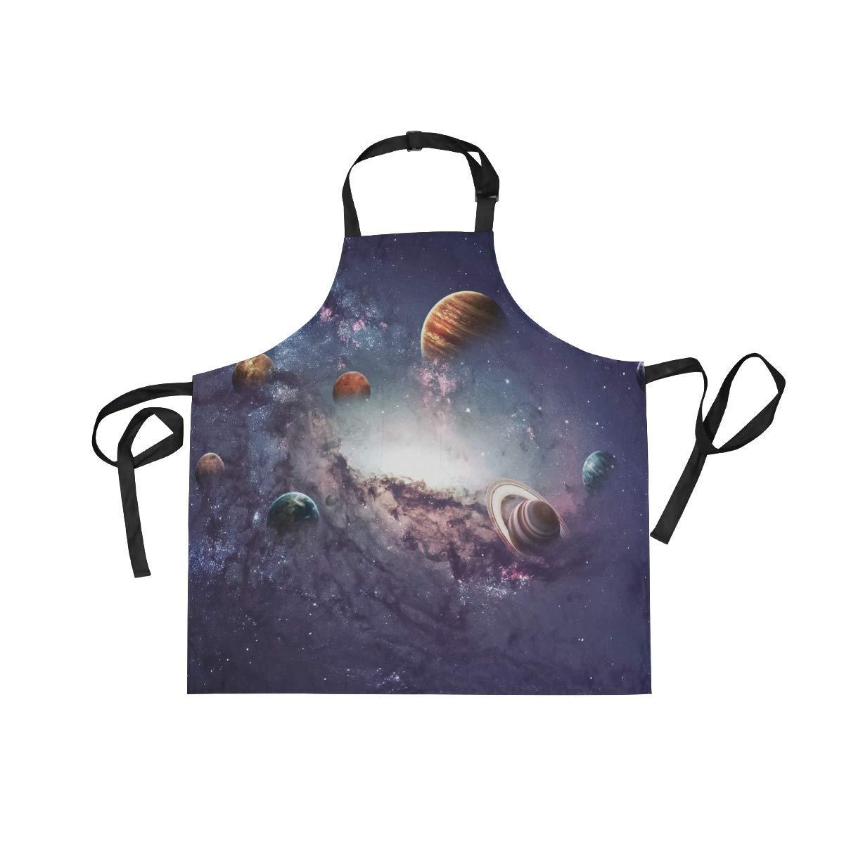 Adult Kitchen Aprons Majestic Universe Solar System Nebula Galaxy Bib Apron with Pockets for Women Men Adjustable Neck Apron Cooking Baking or Kitchen Gardening Unisex Apron,Twill,Multi-Pattern