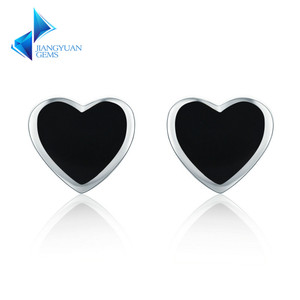 925 Sterling Silver Heart Chic Black Enamel Stud Earrings For Women Party Jewelry