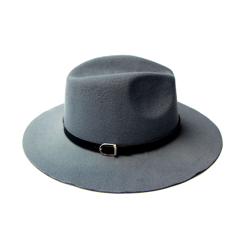 540953c38184b Get Quotations · 2015 Hot New Wide Brim Women Wool Felt Hats With Belt Black  Wool Fedora Hat Women