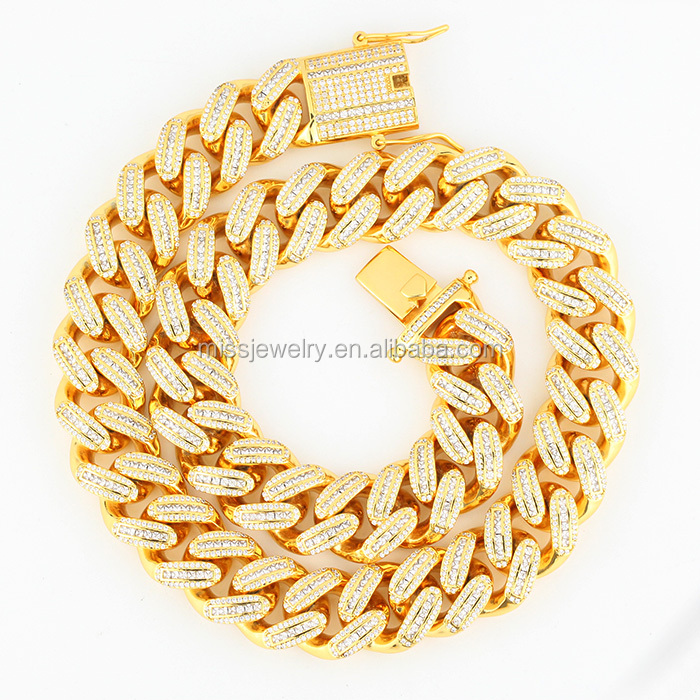 New 18mm Mens Diamond 18K Gold Filled Iced Out Cuban Link Chain Necklace Designs