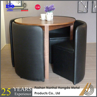 Space saving wooden round dining set