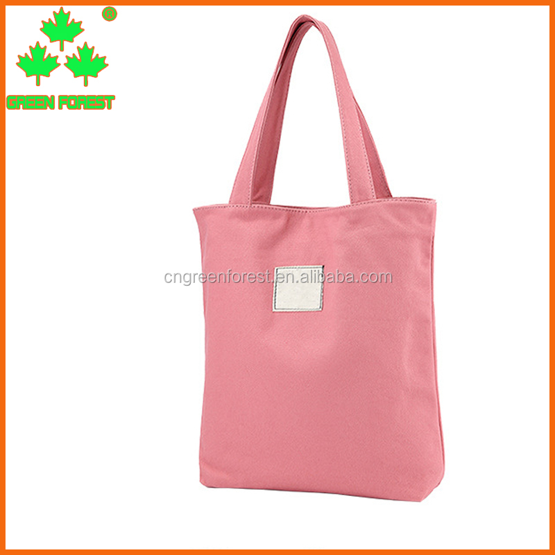 custom logo pink solid canvas tote bag with pocket