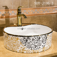 ceramic bathroom luxury color painted gold washing basin