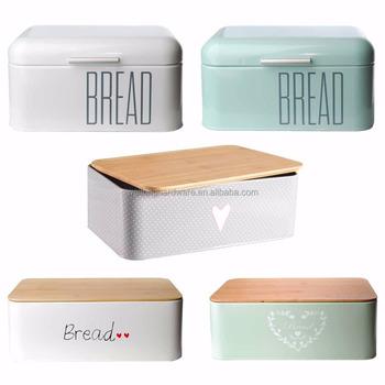 Bread Box Brotbox Metal Bamboo Cover Bread Boxes Storage Bread Box Crate