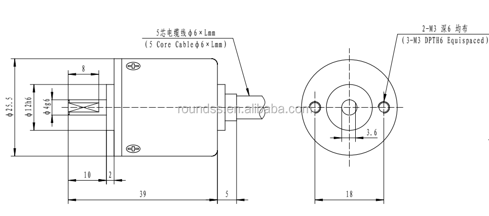 Roundss low cost optical encoder mini rotary encoder 25mm