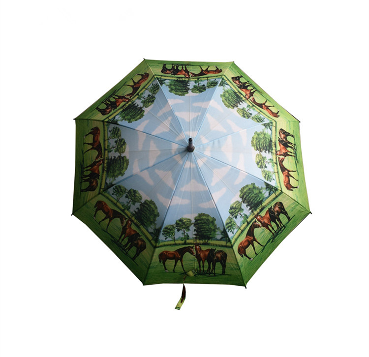 home & garden straight umbrella with fiberglass frame horse print straight umbrella