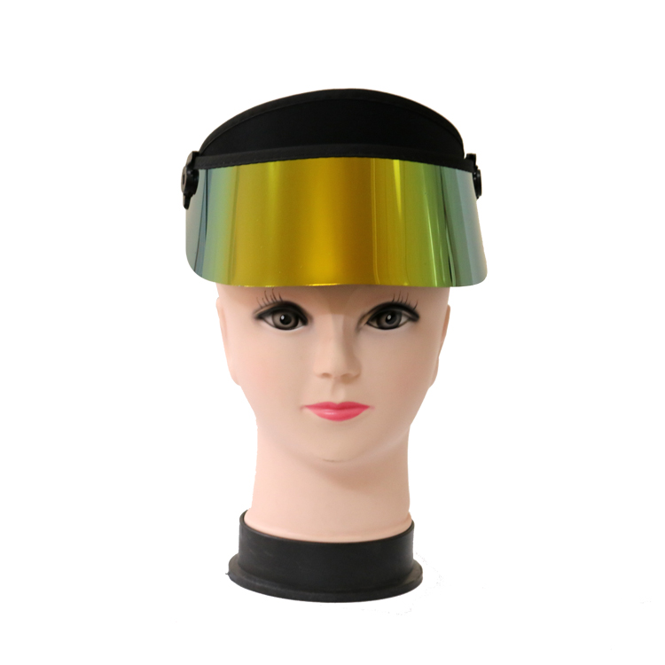 26e5d568db55a0 So Cool UV protection Plastic Sun Visor Cap hats with Short Golden Brim and  Neoprene Headband