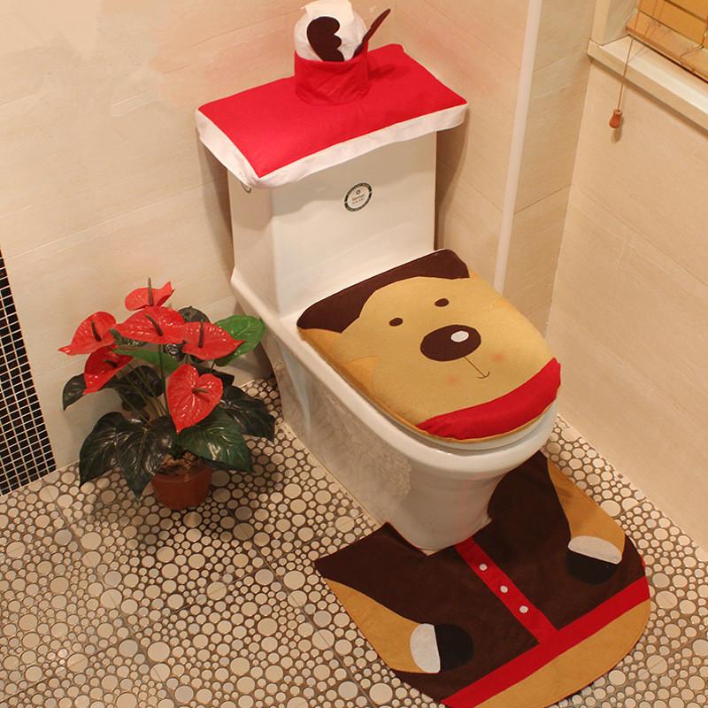 Set Bagno Babbo Natale.Natale Bagno Set Babbo Natale Toilet Seat Cover E Tappeti Per La