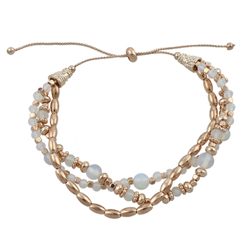 Fashion 3-layered Gold Plated White Opeal Beaded Bracelets - Buy Fashion  3-layered Gold Plated White Opeal Beaded Bracelets,India Gold Plated