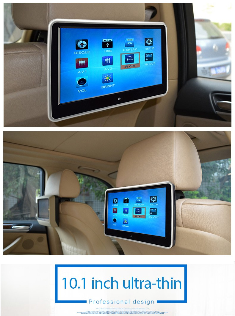 "Factory Wholesale Touch Screen HD Digital 1080P HDM 10.1"" Car headrest dvd 2016 mp4 movies download"