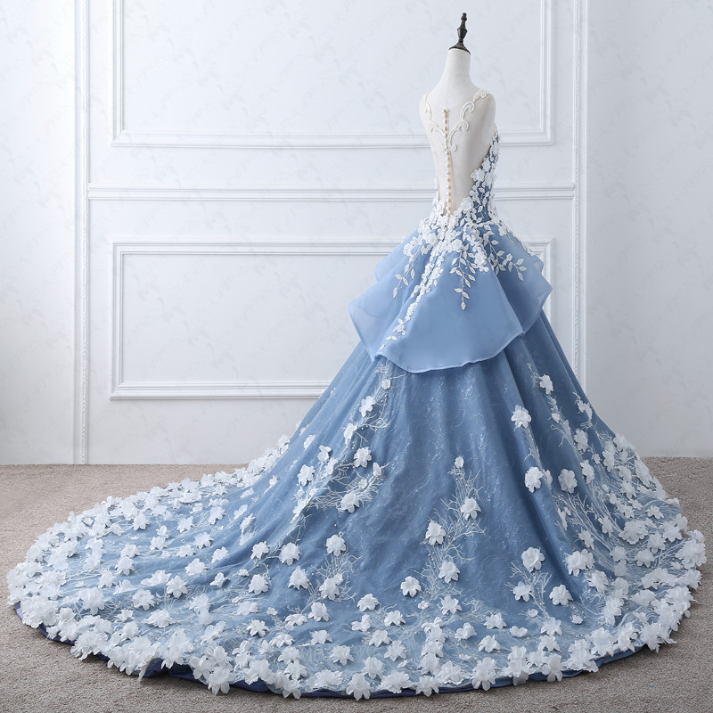 TW0184 Real Pictures Fairy Wedding Dress With Flowers Heavy Beaded Luxury Wedding Dress Royal Blue Wedding Dress Bridal Gown