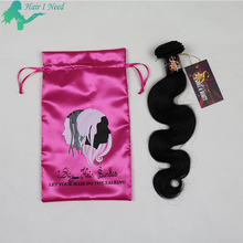 best selling custom logo printing drawnstring bag hair extensions packaging satin bags