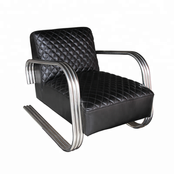 Superb Industrial Genuine Leather Chair With Metal Frame Legs View Vintage Leather Chair Defaico Product Details From Henan Defaico Import Export Company Unemploymentrelief Wooden Chair Designs For Living Room Unemploymentrelieforg