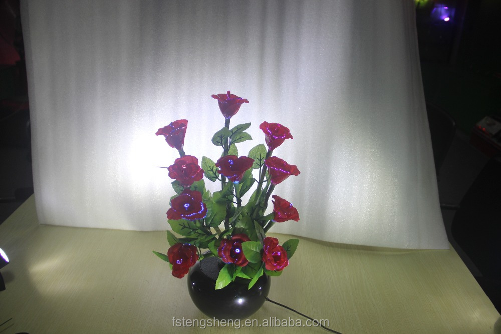 Made in China high quality red fiber rose flower light for home decoration