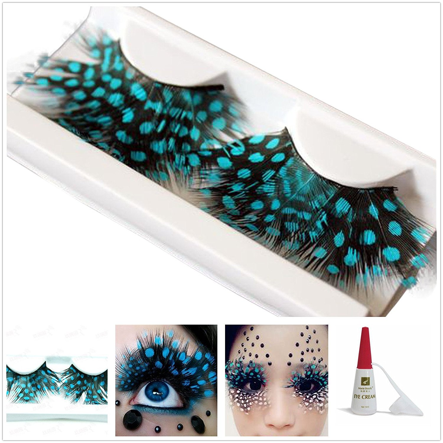 1d93f3857f5 Get Quotations · Beauty II Girl Fancy Dress Dance Party Makeup Feather  False Eyelashes Eye Lashes Polka Dot Thick