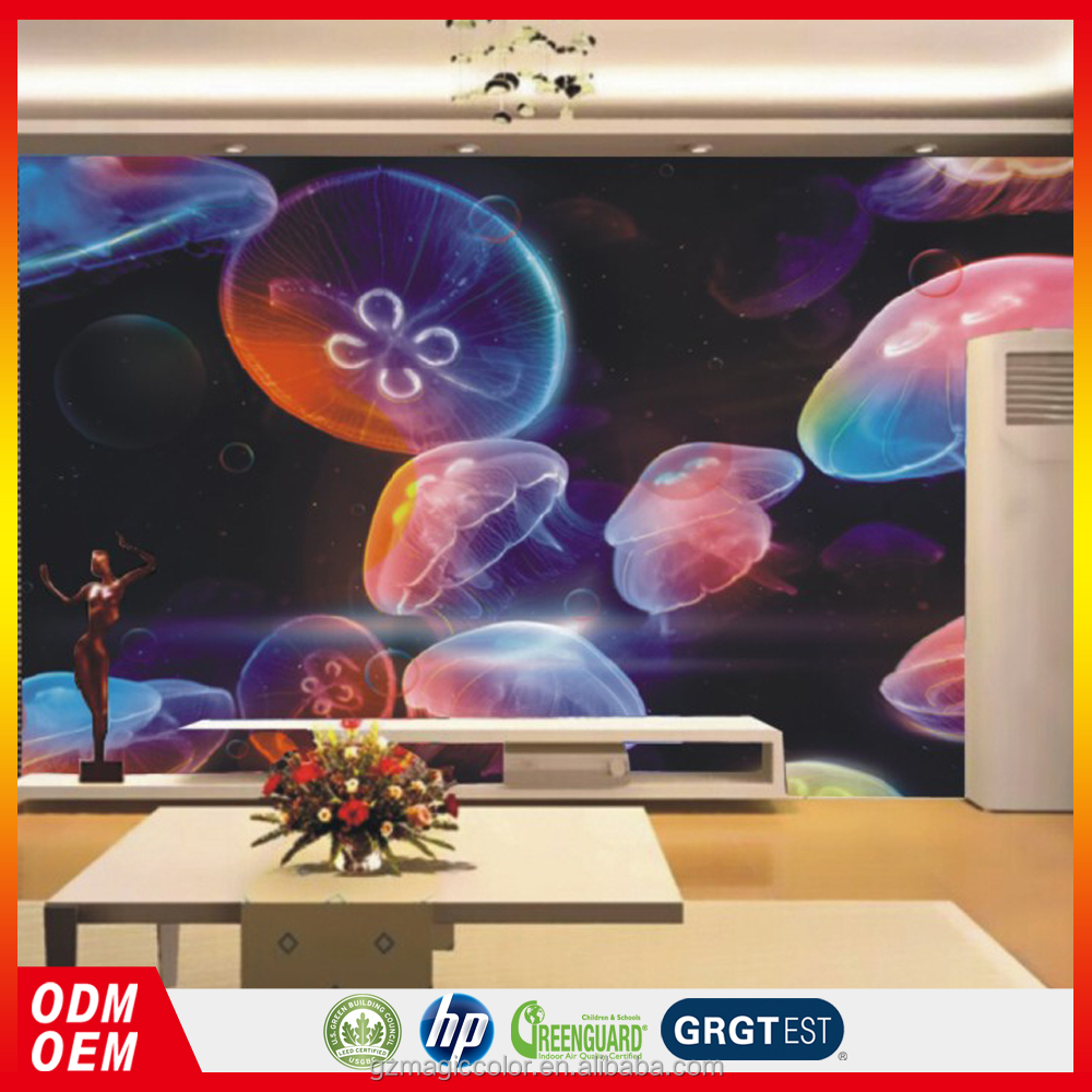 2016 new photo Jellyfish 3D wallpaper <strong>wall</strong> for bar decoration