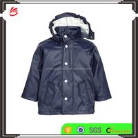 Top quality wholesale attached hood rain jacket waterproof kids jacket