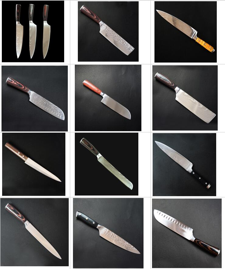 Professional kitchen meat cutting damascus steel forged chinese 8 inch g10 chef knife