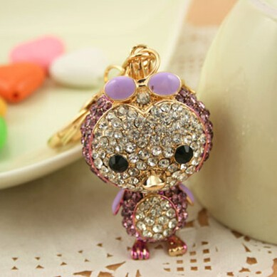 Shiny rhineston bird whistle keychain NSKY-2888