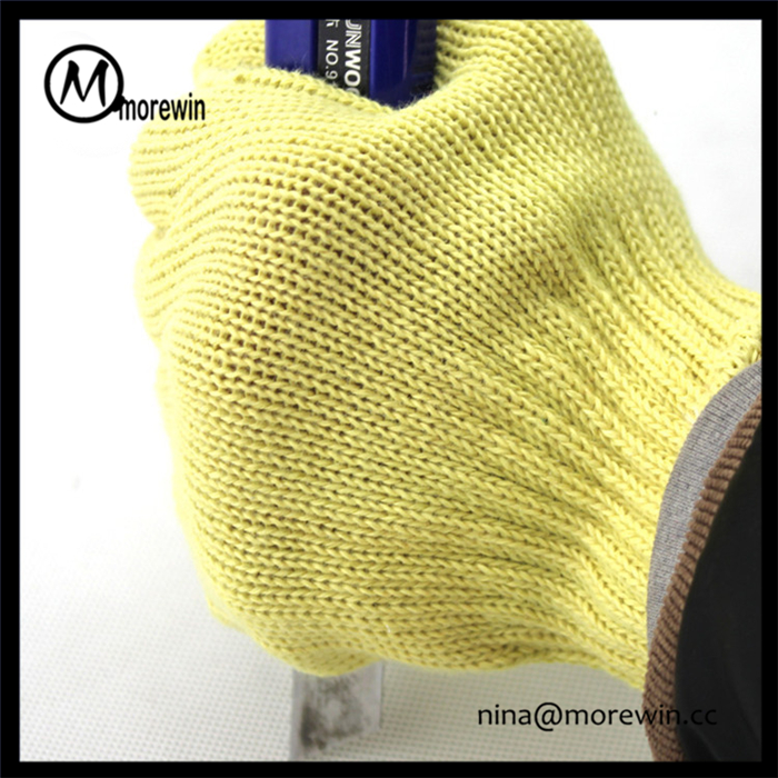 Morewin gloves High quality custom yellow aramid level 5 cut resistant anti cut safety glove for industry use