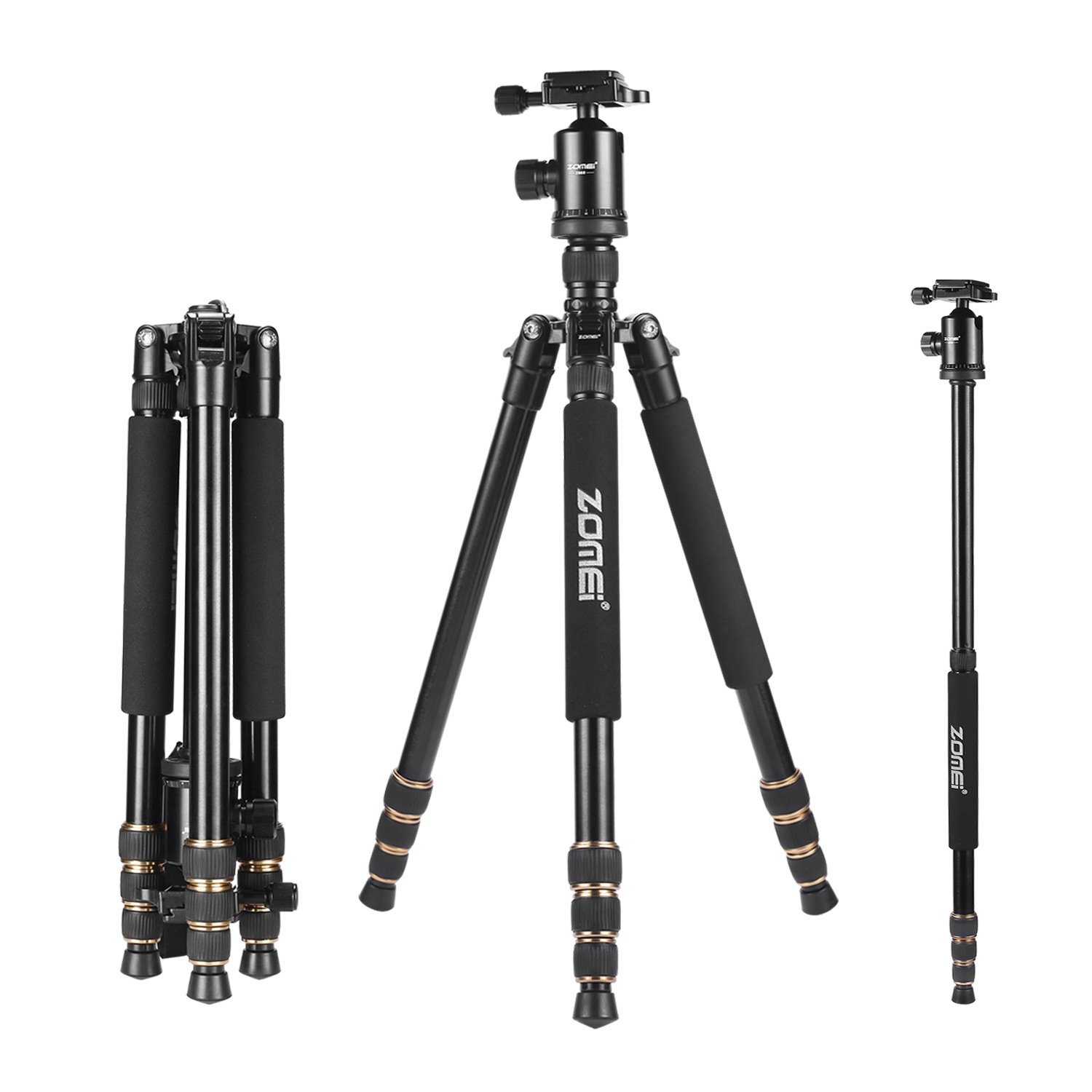 """Zomei 65"""" Tripod Monopod with Z818 Series Quick Release Plate Lightweight Professional Compact for Canon Nikon Sony DSLR Camera"""