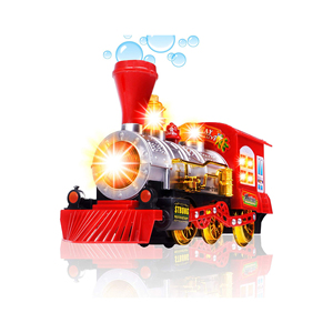 Toys Steam Train Locomotive Engine Car Bubble Blowing Bump & Go Battery Operated Toy Train w/Lights & Sounds