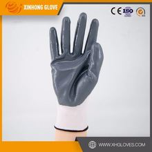 Cheap orange waterproof nitrile coated safety gloves