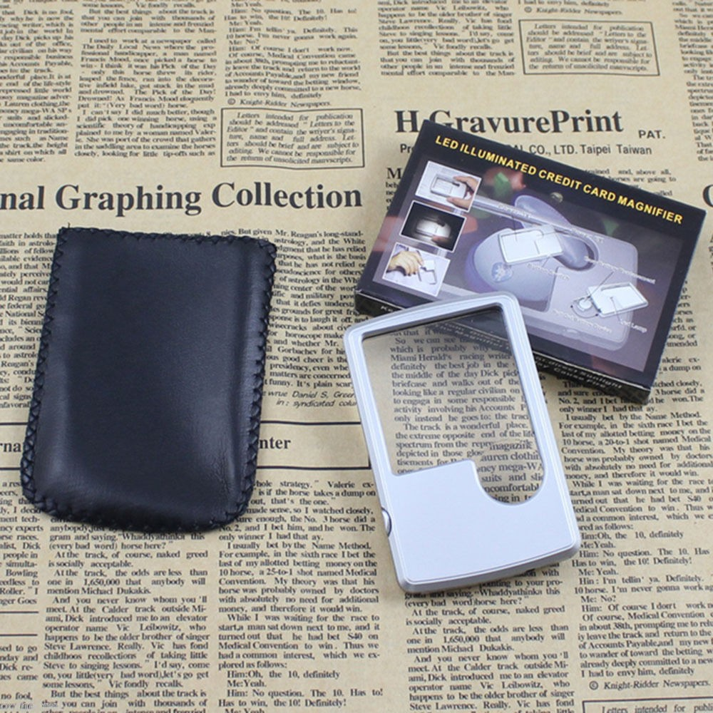 Hot Selling Mini Card Shape Glass Reading Magnifier 3X 6X Magnifying with LED Light for wholesale