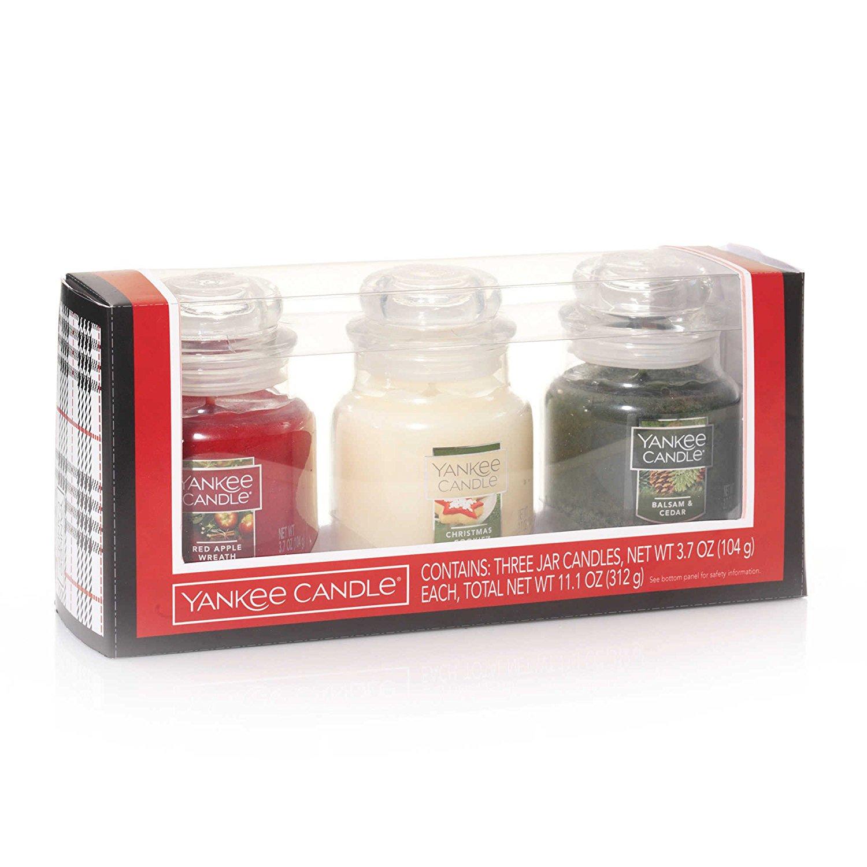 yankee candle company holiday christmas jar candle set gift box of three balsam