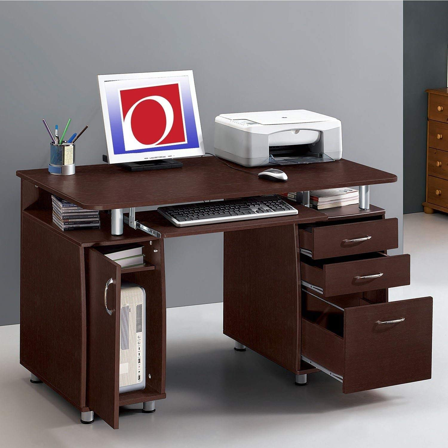 Multifunctional Office Desk with File Cabinet, Ideal for Small Spaces, 3 Drawer Filing Cabinet Built In, Single Door Cabinet Ideal for Computer Tower, Pull-Out Keyboard Tray, Contemporary Brown Finish