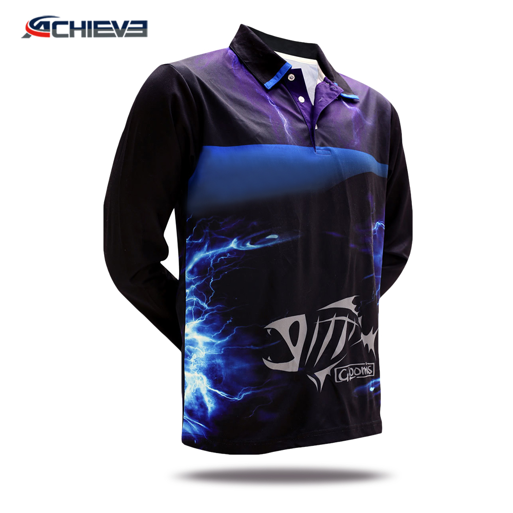 Mens sublimation Quick dry long sleeve fishing shirts / Polo shirt